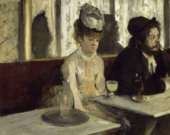 Edgar Degas In A Cafe Absinthe 1873 Painting Art Degas New Poster Reproduction