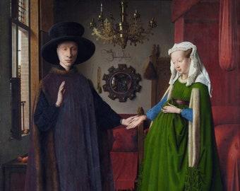 Jan van Eyck : The Arnolfini Portrait (1434) Canvas Gallery Wrapped Giclee Wall Art Print (D6045)