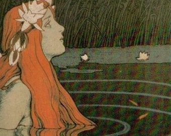 Nymph in a goldfish pond - Franz Hein (1905), Canvas Gallery Wrapped Giclee Wall Art Print (D6040)