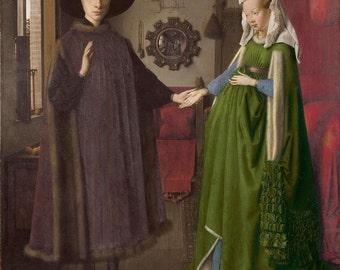 Jan van Eyck : The Arnolfini Portrait (1434) Canvas Gallery Wrapped Giclee Wall Art Print (D604)