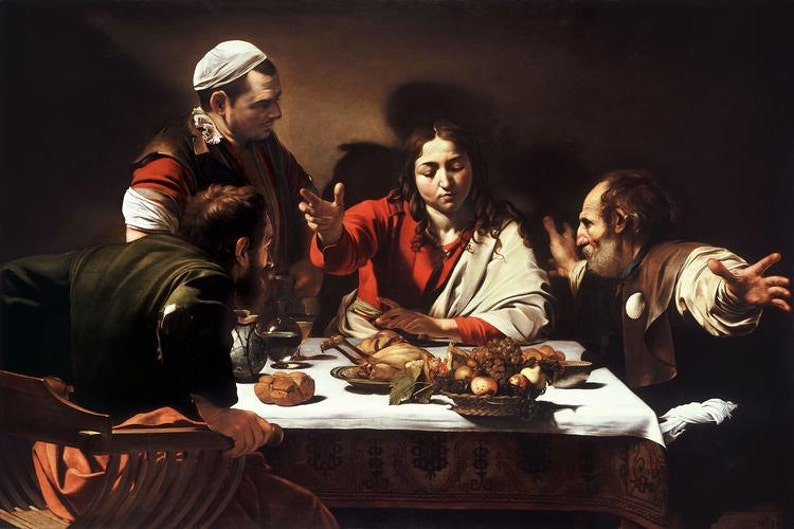 Caravaggio : Supper at Emmaus 1601 Canvas Gallery Wrapped image 0