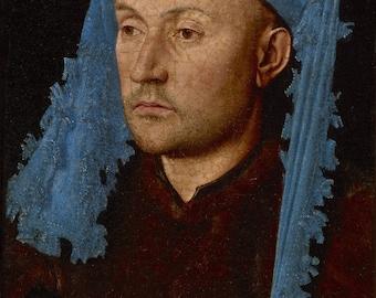 Jan van Eyck : Man in a Blue Cap (1430) Canvas Gallery Wrapped Giclee Wall Art Print (D60)
