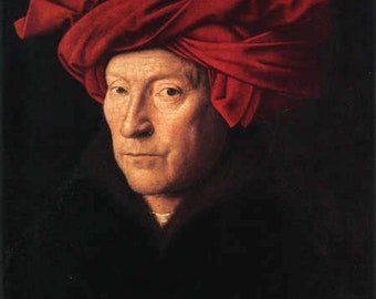Jan van Eyck : Portrait of a Man in a Red Turban (1433) Canvas Gallery Wrapped Giclee Wall Art Print (D6045)