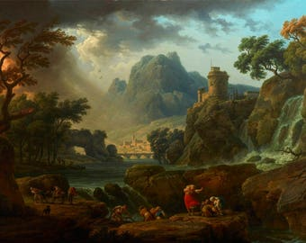 Claude Joseph Vernet : A Mountain Landscape with an Approaching Storm (1774) Canvas Gallery Wrapped Giclee Wall Art Print (D40)