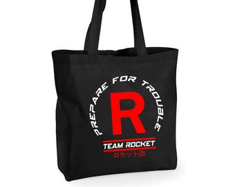 Team Rocket Large 100% Cotton Tote Bag Inspired By Pokemon