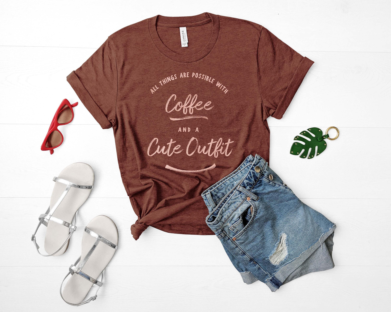 mignon avec café Rose de or Print T-shirt-t-shirts drôles de Rose t-shirt graphique - tumblr chemises - Slogan Tshirt - vie Humour - femmes 5f5535
