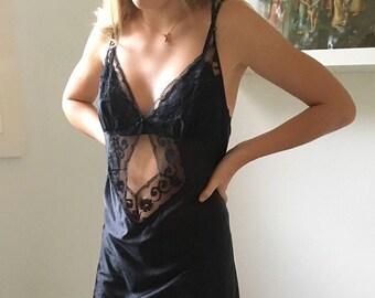 Black lace slip dress