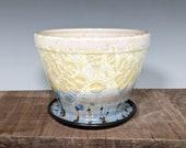 Handmade Ceramic Planter with Drainage Hole, Crystalline Glazed Planter
