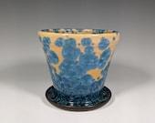 Gift for MOM Handmade Ceramic Planter with Drainage Hole, Crystalline Glazed Planter