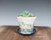 Gift for MOM Succulent Ceramic Planter, Mini Handmade Pot with Drainage, Crystalline Glazed Porcelain