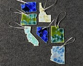 Gift for MOM Ceramic State Ornament, Washington, Oregon, California, Idaho, Nevada, Utah, Arizona