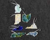Gift for MOM Ceramic State Ornament, Michigan, Indiana, Ohio, Kentucky, Tennessee, Virginia, North Carolina