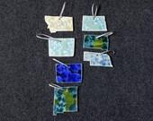 Gift for MOM Ceramic State Ornament Montana, Wyoming, Colorado, New Mexico, North Dakota, South Dakota, Nebraska