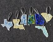 Gift for MOM Ceramic State Ornament, South Carolina, Georgia, Florida, Alabama, Mississippi, Louisiana, Texas