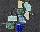 Gift for MOM Ceramic State Ornament, Minnesota, Wisconsin, Iowa, Illinois, Missouri, Kansas, Oklahoma, Arkansas