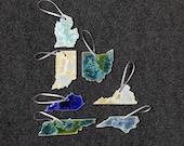 Ceramic State Ornament, Michigan, Indiana, Ohio, Kentucky, Tennessee, Virginia, North Carolina