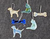 Ceramic Dog, Cat or Dog Bone Ornament