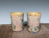 Ceramic Cup Set of 2, Small Hand Thrown, Crystalline Glazed
