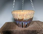 Indoor Hanging Planter, Handmade Pottery, Crystalline Glazed