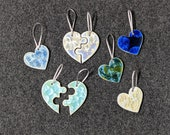 Ceramic Heart or Two Piece Puzzle Heart Ornament
