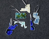Ceramic State Ornament, New York, New Jersey, Pennsylvania, Delaware, Maryland, West Virginia