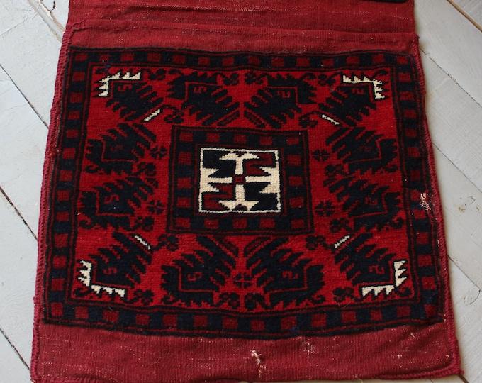 """1'6""""x5'0"""" ft  Vintage Rug Saddlebag, Ethnic Bohemian Turkish Handwoven Rug Saddlebag"""