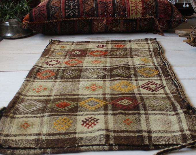 "2'3""x3'8"" ft   Vintage Kilim Chuval, Bohemian Ethnic Kilim Sack,Tribal Nomadic Handwoven Wool Kilim Storage Bag"