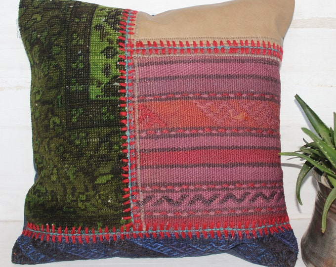 18x18 inch Patchwork Kilim Pillow Case, Ethnic Bohemian Handmade Pink-Green Kilim Pillow Cover,decorative Pillow Case