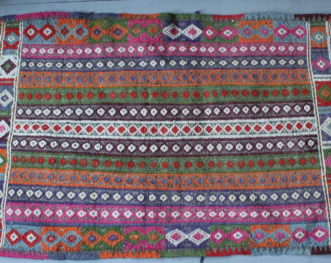 "2'4""x4'1"" Vintage Pink Striped Kilim Rug,Small Turkish Kilim,Handwoven Wool Kilim,Bohemian Kilim"