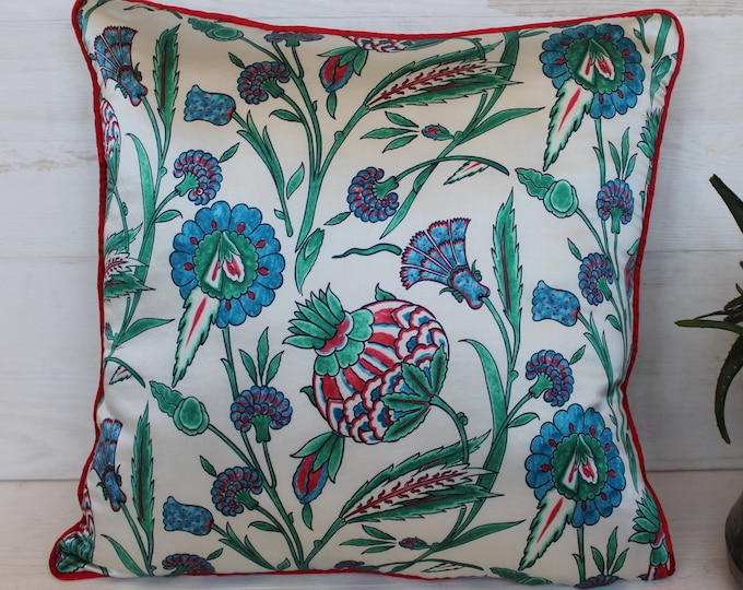 17x17 inch SILK Hand painted Traditional Design Turkish Pillow Case, Decorative SILK Pillow Cover
