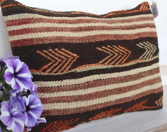 14x50 inch KILIM Pillow Cover, Ethnic Pillow Case, Vintage Pillow, Bohemian Pillow Cover, Handwoven Pillow Cover, Brown Kilim Cushion Cover