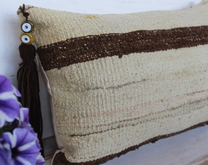 12x22 inch Kilim Lumbar Pillow Case, Vintage KILIM Pillow Cover, Beige, Striped, Wool Pillow Cover, Ethnic Beige Pillow Case