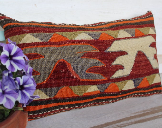 12x22 inch KILIM Pillow Cover, Aztec Design Lumbar Kilim Pillow Case, Turkish Kilim Pillow, Ethnic Kilim Pillow, Vintage Kilim Pillow