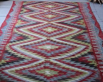 Oushak Esme Kilim, Vintage Area Kilim, Bohemian Kilim, Diamond Design Kilim,Handwoven wool Kilim rug