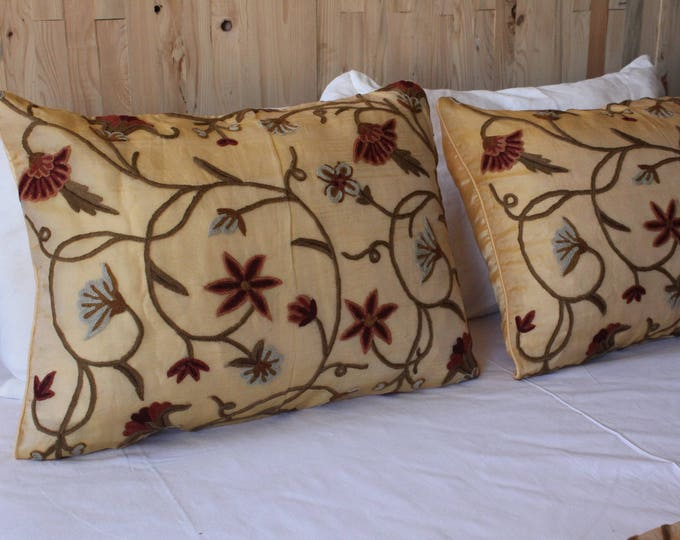PAIR Embroidered Silk and Organza  Pillow Cover,Vintage Uzbek Suzani Hand Embroidered Chain Stitch Cream-Beige Pillow Case,Silk Pillow COVER