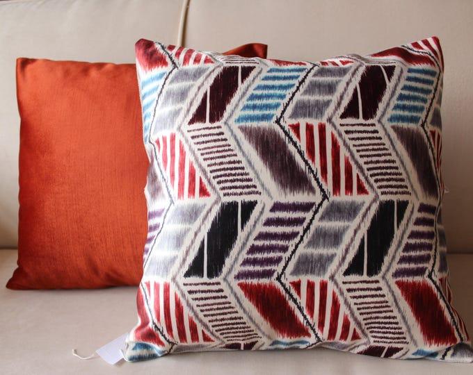 16.5 x 16.5 inch PAIR Velvet -Ikat Pillow Case, Decorative Orange Velvet  Pillow Cover, Decorative Ikat Pillw