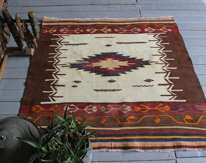 "3'6""x3'8"" ft  Vintage Aztec Design Kilim Rug, Bohemian Beige-Terra Cotta Kilim Rug, Ethnic Kilim Rug, Turkish Anatolian Kilim Rug"