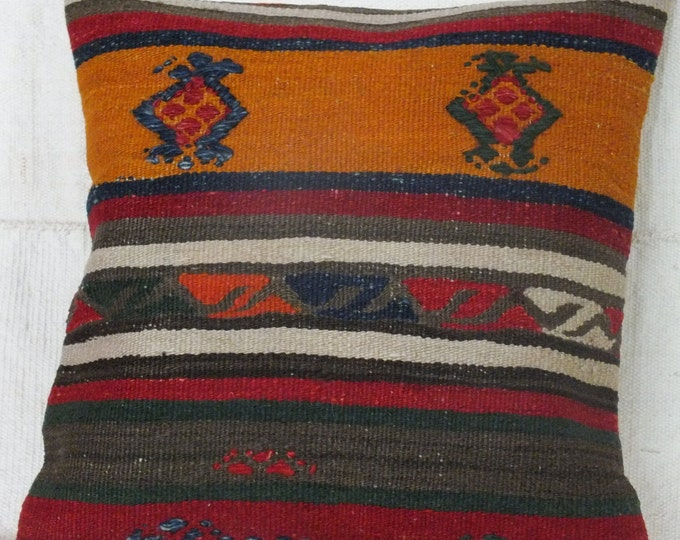 16x17 Pillow Case, Colorful Kilim Pillow, Turkish Kilim Pillow