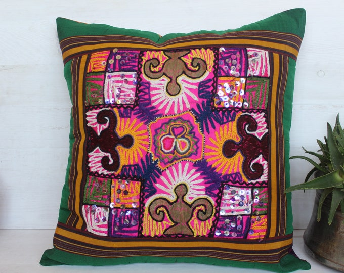20x20 inch Raw Silk Embroidered SUZANI Pillow Case, Ethnic Bohemian Green-Pink Pillow Cover,Decorative Pillow