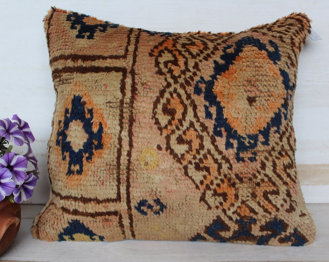 18x18 inch Vintage Oushak Rug Pillow Cover, Carpet Pillow Case, Bohemian Pillow Cover, Blue-Beige Pillow Case, Turkish Carpet Pillow