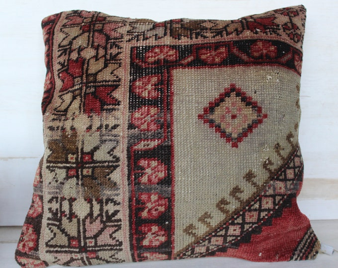 20x20 inch Vintage Rug Pillowcase, Ethnic Wool Pillow Cover, Turkish Beige- Brown Rug Pillow Cover, Turkish Pillow Cover