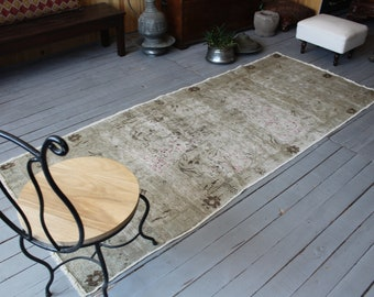 "3'3""x 8' ft  RUNNER Vintage Distressed Beige Runner Rug, Vintage Anatolian Beige Runner Rug, Turkish Area Rug"