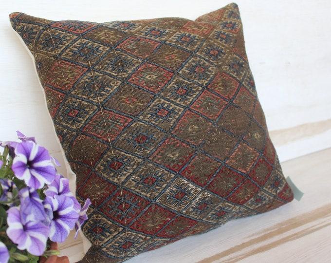 18x18 inch   Vintage Kilim Pillow, Ethnic Kilim Pillow Cover, Bohemian Kilim Pillow Case, Decorative Kilim Pillow Cover,Anatolian Old Pillow