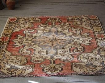 Vintage Anatolian Avanos Rug Handwoven Wool Distressed Oushak  Area rug