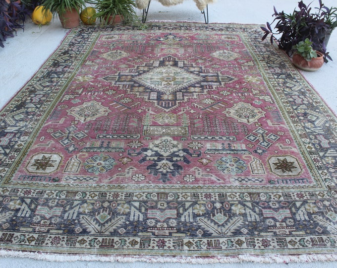 "8'2""x11'1"" ft  Vintage  Rug, Large Area Rug, Large Turkish Rug, Vintage Kayseri Rug, Large Anatolian Rug, Low Piled Medallion Rug"