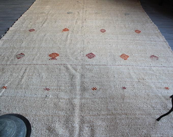 """7'2""""x11'6"""" ft Vintage HEMP Kilim , Ethnic Beige Hemp Kilim Rug, Bohemian Natural Wool Kilim Rug, Large  Area  Kilim"""