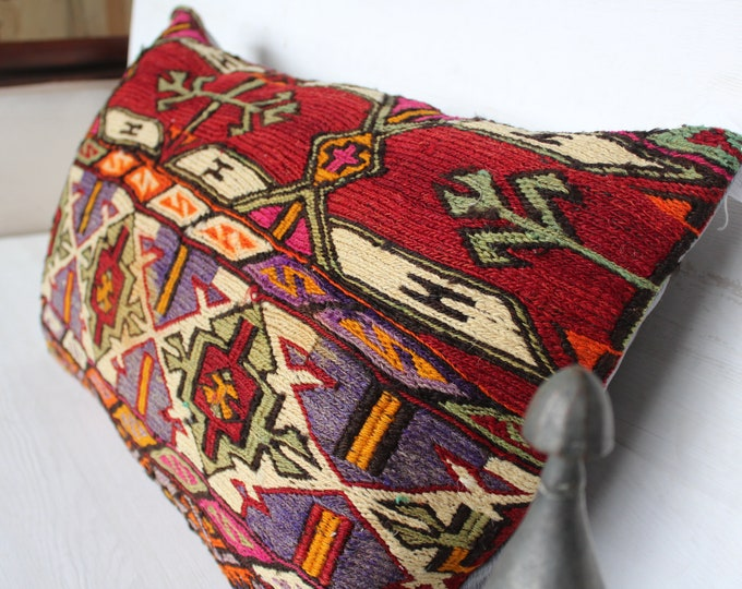 16x27 inch Vintage Kilim Lumbar Pillow Cover,Ethnic Bohemian Handwoven Wool Kilim Lumbar Pillow Case