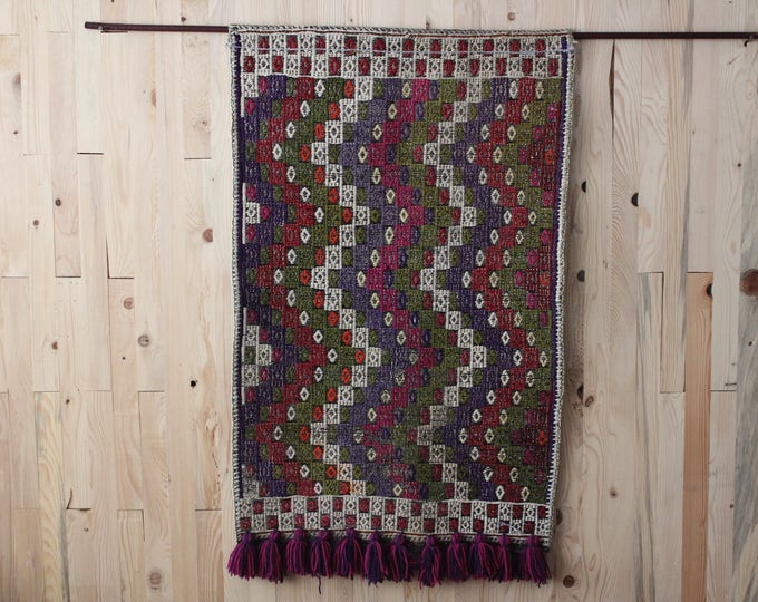 Purple Cicim Wool Wall Hanging,Ethnic Wall Decor,Tribal Wall Hanging,Eclectic Wall Decor
