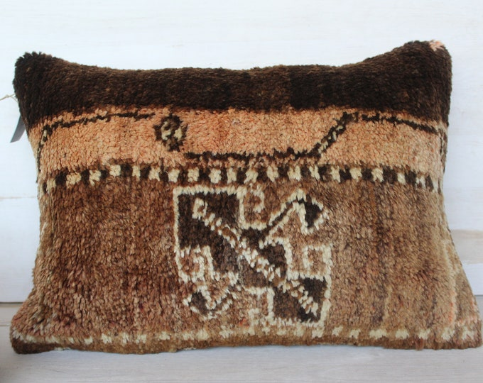 14x20 inch Carpet Pillowcase, Ethnic Rug Pillow Cover, Decorative Wool Pillowcase, Brown Piled Wool Pillow Cover