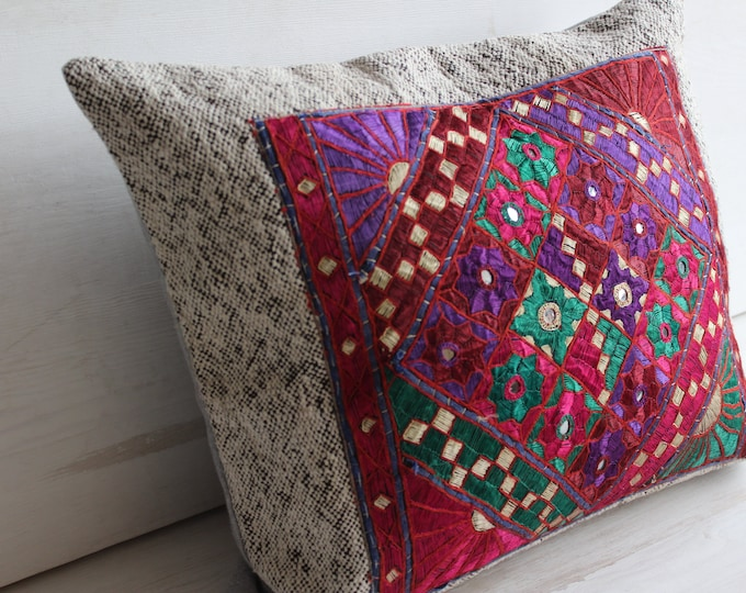 Pink Bohemian Embroidered pillow Case,Ethnic,Tribal,Handmade Throw Pillow Cover